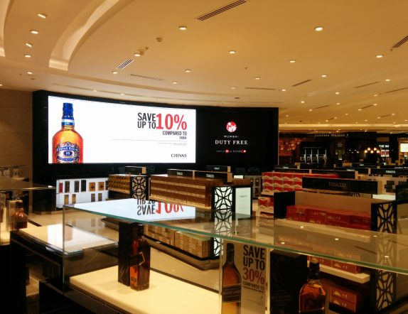 Curved LED Videowlal for Branding and Communiation at T2 Duty Free