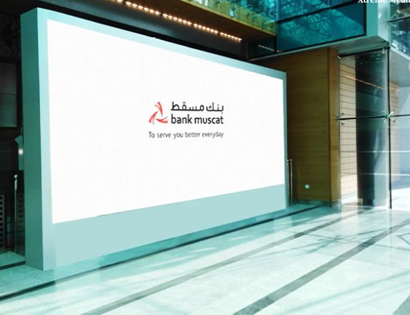High brightness Active LED DIsplay for Semi Indoor Setup at Bank of Musat Oman